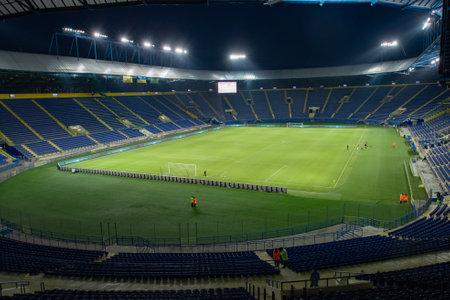 KHARKIV, UKRAINE - MARCH 15, 2021: OSK Metallist stadium before match of PFL Metallist 1925 vs Alyans