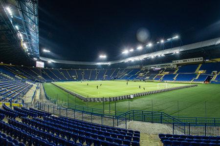 KHARKIV, UKRAINE - MARCH 15, 2021: OSK Metallist stadium before match of PFL Metallist 1925 vs Alyans Redactioneel