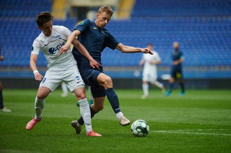 KHARKIV, UKRAINE - APRIL 14, 2021: The football match of Professional football league. FC Metal Kharkiv vs FC Peremoha