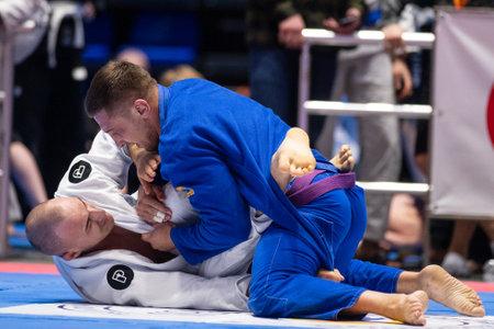 KHARKIV, UKRAINE - APRIL 10, 2021: Fighters during Ukraine national challenge Brazilian jiu jitsu.