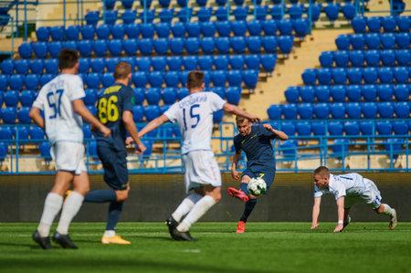 KHARKIV, UKRAINE - APRIL 19, 2021: Fares Bahlouli during the match of Ukraine Profesional League FC Metal vs FC Mykolaiv-2