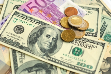 batch of euro: Dollar and Euro bank note money background