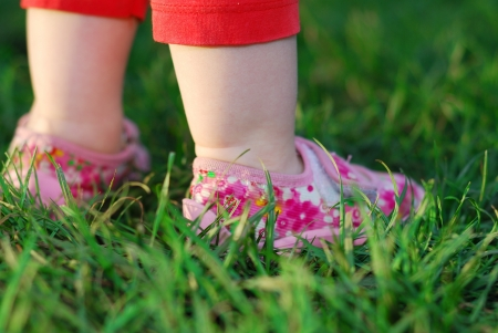 Baby s feet on green grass photo