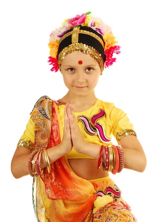 invitando: Ni�a bailarina india en la postura de invitaci�n
