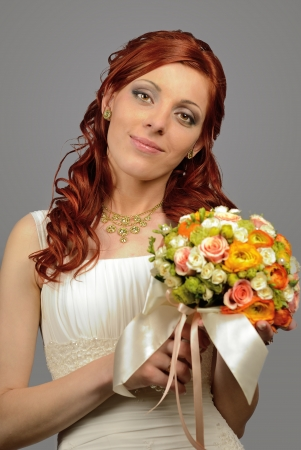 Close up of a nice young wedding bride photo