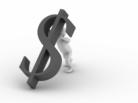 unreliable: 3d man with falling dollar symbol Stock Photo
