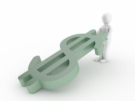 dollar symbol: 3d man with falling dollar symbol Stock Photo