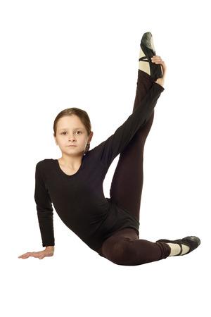 Kleines Mädchen-Tänzer getrennt auf weißem Hintergrund
