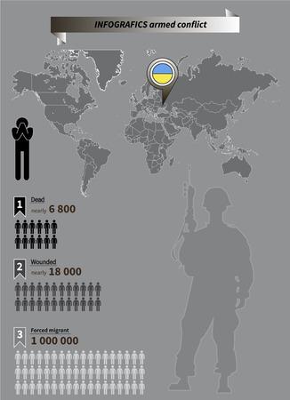 conflicto: Infograf�a del conflicto militar en el este de Ucrania 2014-2015 Vectores