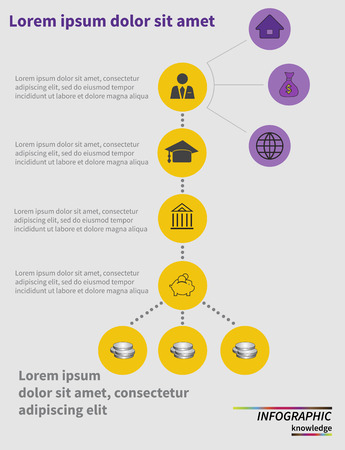 learning process: Step by step circle infographics. Learning process. Vector illustration Illustration
