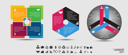 technology icon: Vector circle infographic. Template for cycle diagram, graph, presentation and round chart. Business concept with 7, 4, 5, 6 and 3 options, parts, steps or processes. Data visualization.