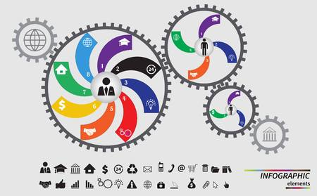 communicate concept: Business mechanism concept. Abstract background with connected gears and icons for strategy, service, analytics, research, seo, digital marketing, communicate concepts. Vector infographic illustration Illustration