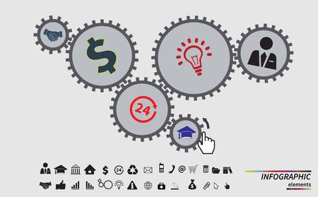 reputable: Business mechanism concept. Abstract background with connected gears and icons for strategy, service, analytics, research, seo, digital marketing, communicate concepts. Vector infographic illustration Illustration