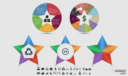 7 8: Vector circle infographic. Template for cycle diagram, graph, presentation and round chart. Business concept with 7, 8, 5, 6 and 4 options, parts, steps or processes. Data visualization.