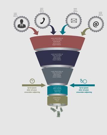 깔때기 흐름 차트. infographic. 다이어그램, 그래프, 프레 젠 테이 션 및 차트에 대 한 템플릿입니다. 옵션, 부품, 단계 또는 프로세스와 비즈니스 개념. 데