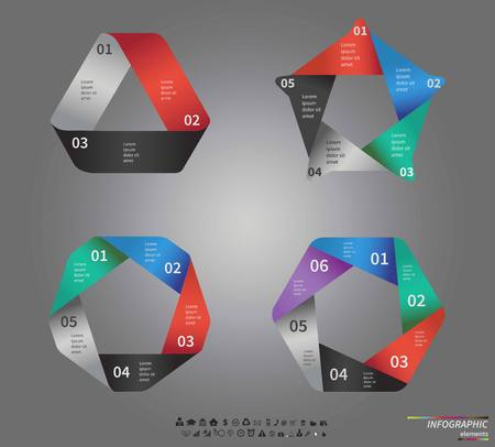 5 6: circle infographic. Template for cycle diagram, graph, presentation and round chart. Business concept with 5, 6 and 3 options, parts, steps or processes. Data visualization.