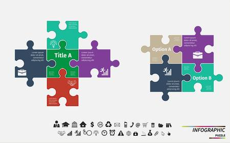 4 5: puzzle infographic. Template for diagram, graph, presentation and round chart. Business concept with 4, 5 options, parts, steps or processes. Abstract background.