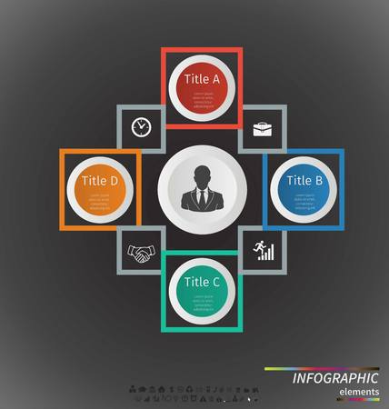 4 5: circle infographic. Template for cycle diagram, graph, presentation and round chart. Business concept with 7, 4, 5, 6 and 3 options, parts, steps or processes. Data visualization. Illustration