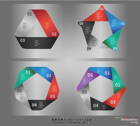 3 5: Infographic template . Design for presentation or diagram. Concept for 3, 5, 6 steps, parts or options.  Illustration