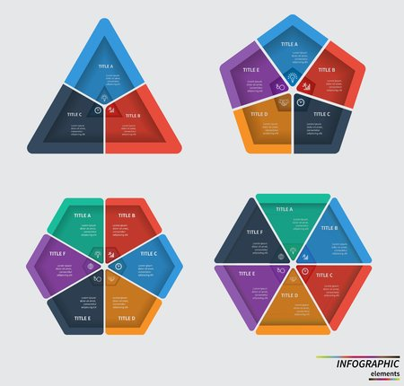 3 5: Infographic template . Design for presentation or diagram. Concept for 3, 5, 6 steps, parts or options. Vector .