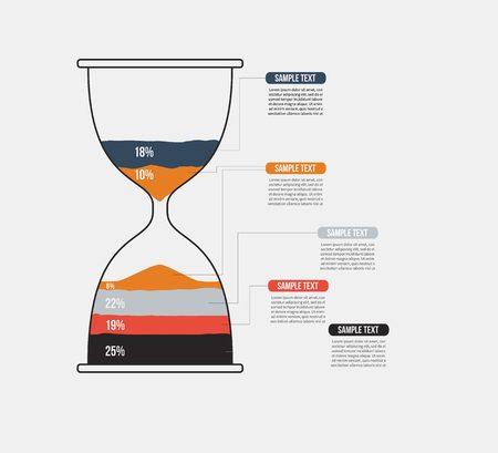 reloj de arena: reloj de arena del vector plantilla de infografía. Diseño concepto de negocio para su presentación, gráfico y diagrama. Opciones, partes, etapas o procesos. Vectores