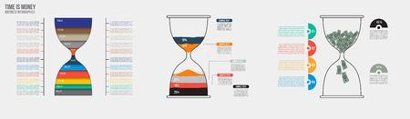 reloj de arena: El tiempo es dinero. reloj de arena del vector plantilla de infograf�a. Dise�o concepto de negocio para su presentaci�n, gr�fico y diagrama. Opciones, partes, etapas o procesos.