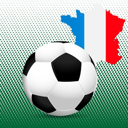 uefa: The 2016 UEFA European Championship.  France. Template with ball and the countrys borders with flag colors.