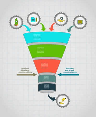 Funnel flow chart. Infographic template . Design for presentation, round chart or diagram. Concept for 5 steps, parts or options. Çizim