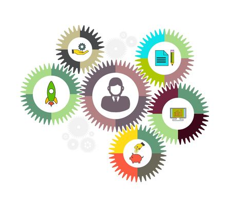 reputable: Business mechanism concept. Abstract background with connected gears and icons.