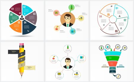 visualization: Set of Infographic Template. Data Visualization. Can be used for workflow layout, number of options, steps, diagram, graph, presentation, round chart and web design. illustration.
