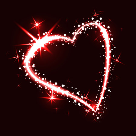 Sparkling heart on dark background with boken and stars