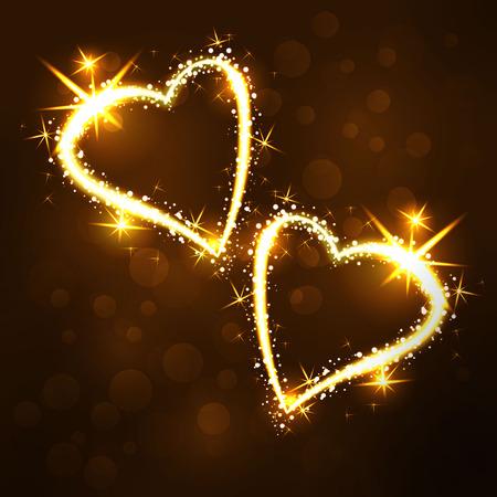 glisten: Sparkling 2 hearts on dark background with boken and stars