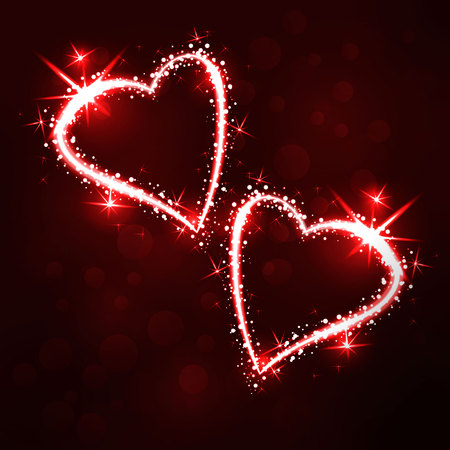 Sparkling 2 hearts on dark background with boken and stars
