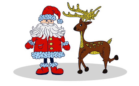 oldman: Santa Claus and deer isolated on white background