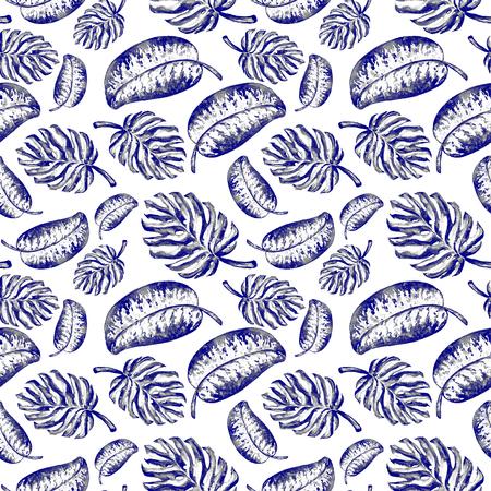 tera: Seamless pattern of leaves monstera. Watercolor sheet