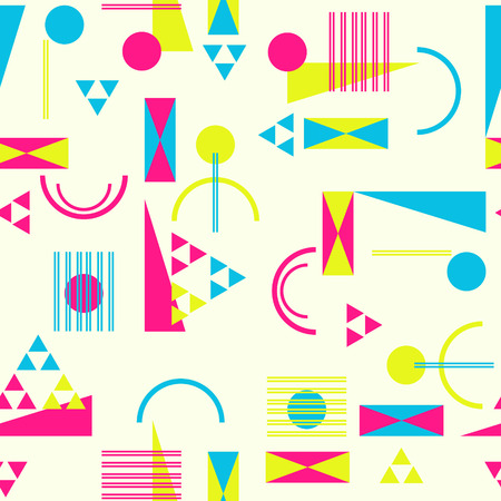 nineties: Seamless geometric pattern in retro 80s style Background