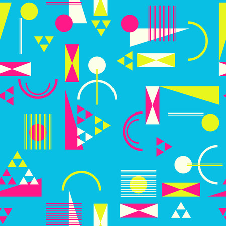 80s: Seamless geometric pattern in retro 80s style Background