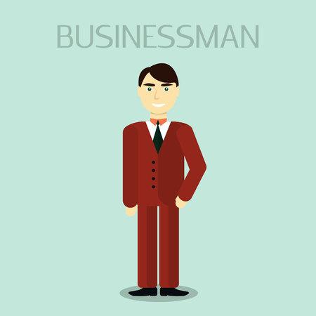 male portrait: Business Man Male Portrait Flat Design. Business people Vector