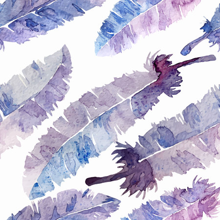 Watercolor feathers seamless pattern. Colorful feathers with watercolor texture pattern. White background