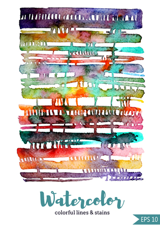 isoleted: Watercolor lines and stains. White background. Isoleted