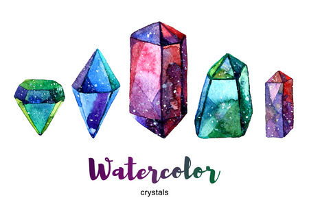 tanzanite: Multicolor minerals. Watercolor illustration of crystal. Set of colorful gemstones.