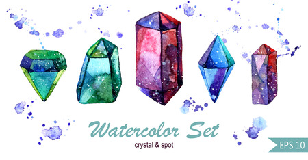gemstone: Multicolor minerals. Watercolor illustration of crystal. Set of colorful gemstones.