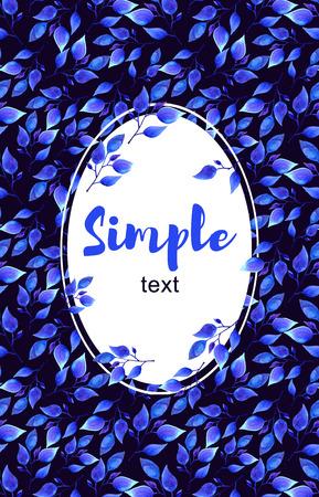 bordering: Blue leaves frame Greeting card Elegant floral elements