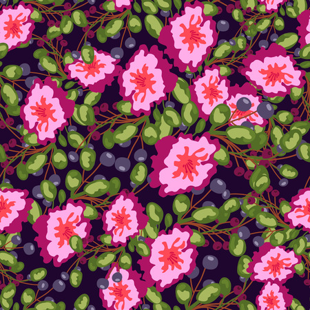 gray anemone: Seamless pattern of small bouquets pink flowers , blue berries and green leaves. Seamless vector print on dark bluebackground. Grouped and isolated