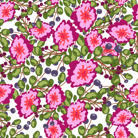 gray anemone: Seamless pattern of small bouquets pink flowers , blue berries and green leaves. Seamless vector print on white background. Grouped and isolated