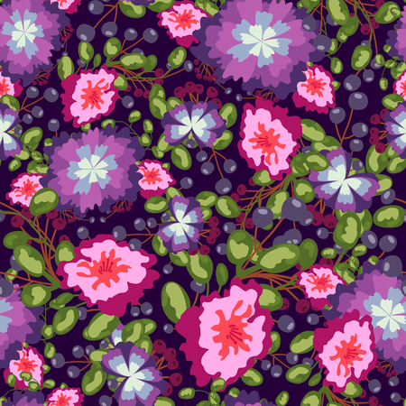 gray anemone: Seamless pattern of small bouquets pink flowers , blue berries and green leaves. Seamless vector print on violet background. Grouped and isolated
