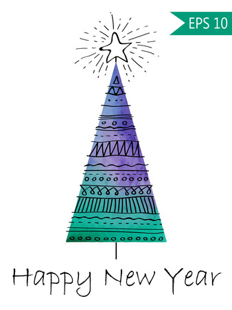Watercolor-style isolated vector illustration of Christmas or New Year Tree. Whith hand-drawn elements . On white background grouped and isolated in vector Colorful Illustration