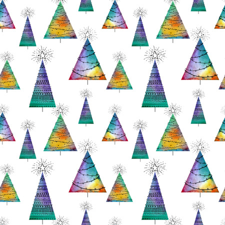 colofrul: Seamless christmas pattern with watercolor vector trees and hand-drawn elements on white background. Colofrul endless unusual Illustration