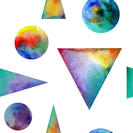colofrul: Vector Watercolor seamless pattern. With colofrul triangles on white background . Endless print