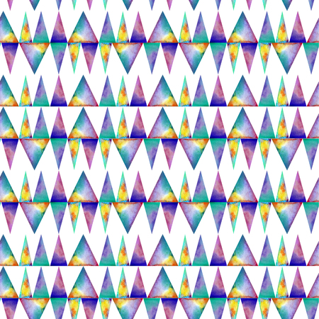 colofrul: Watercolor seamless pattern. With colofrul triangles on white background . Endless print Stock Photo